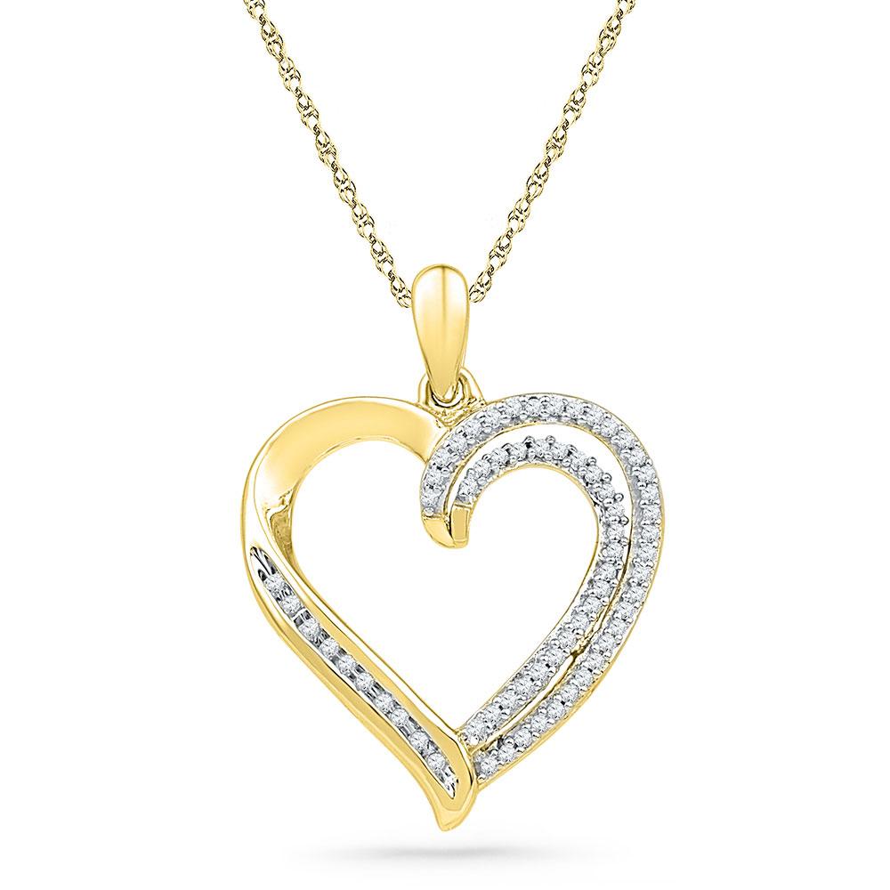 0.25 CTW Diamond Open-center Heart Pendant 10KT Yellow Gold - REF-22F4N