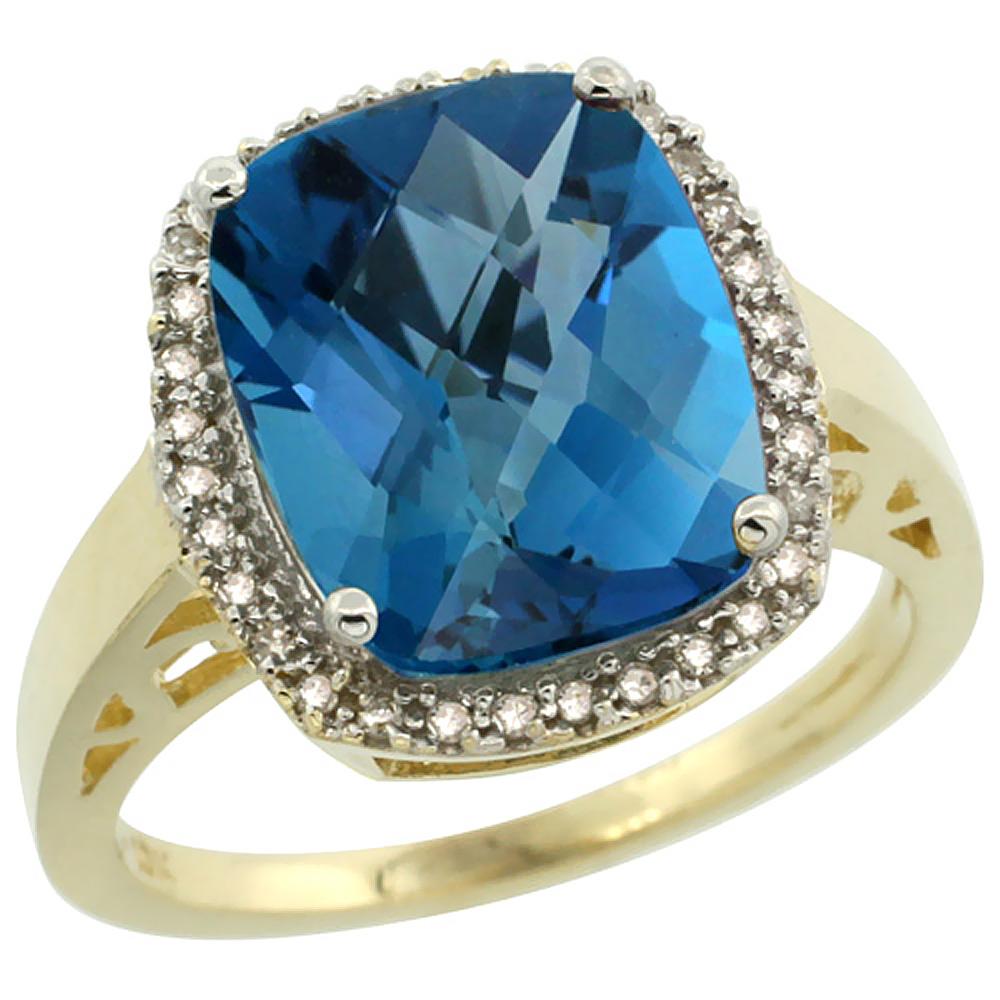 Natural 5.28 ctw London-blue-topaz & Diamond Engagement Ring 14K Yellow Gold - REF-55H4W