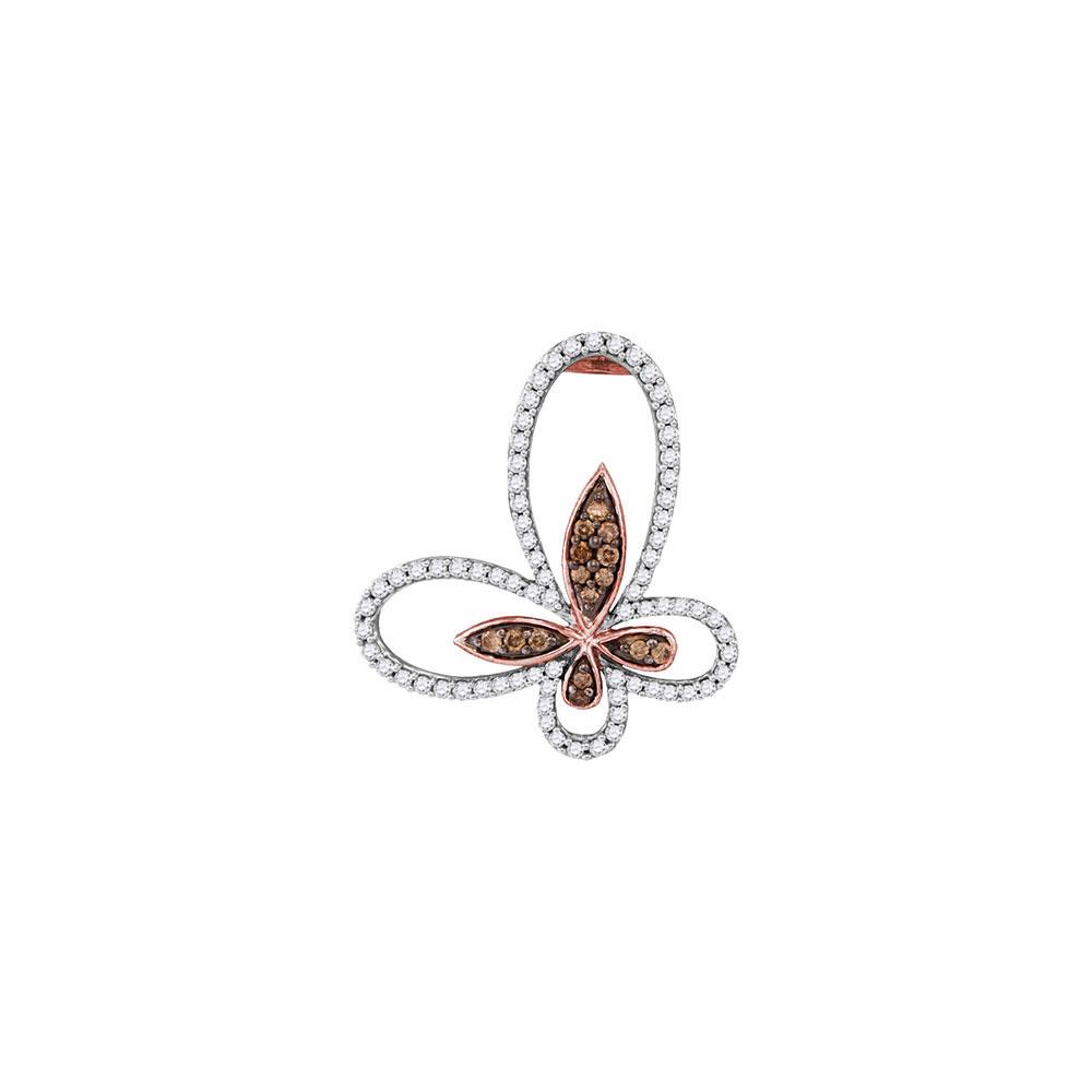 0.95 CTW Cognac-brown Color Diamond Butterfly Bug Pendant 10KT Rose Gold - REF-49W5K