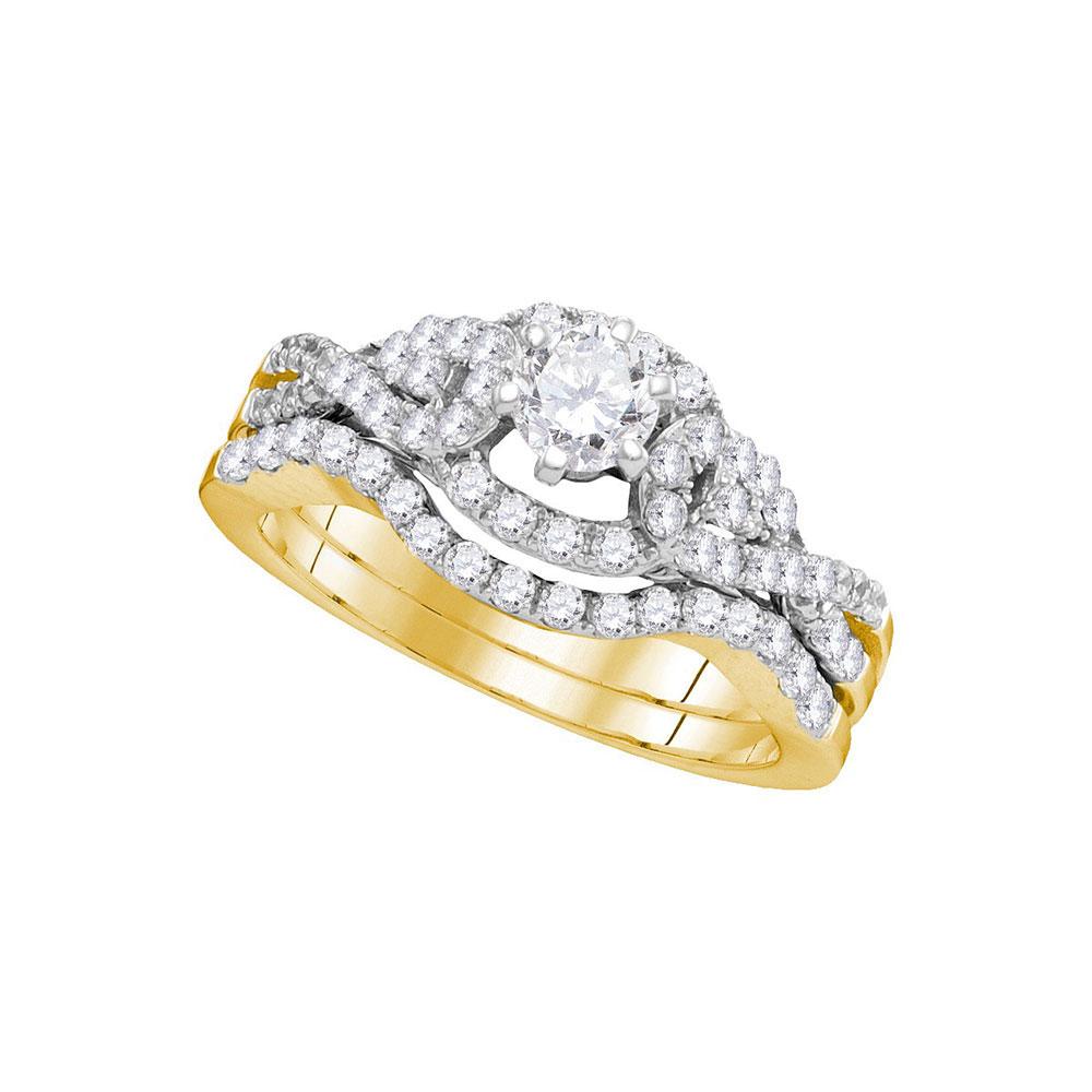 1 CTW Diamond Woven Bridal Wedding Engagement Ring 14k Yellow Gold - REF-142H4M