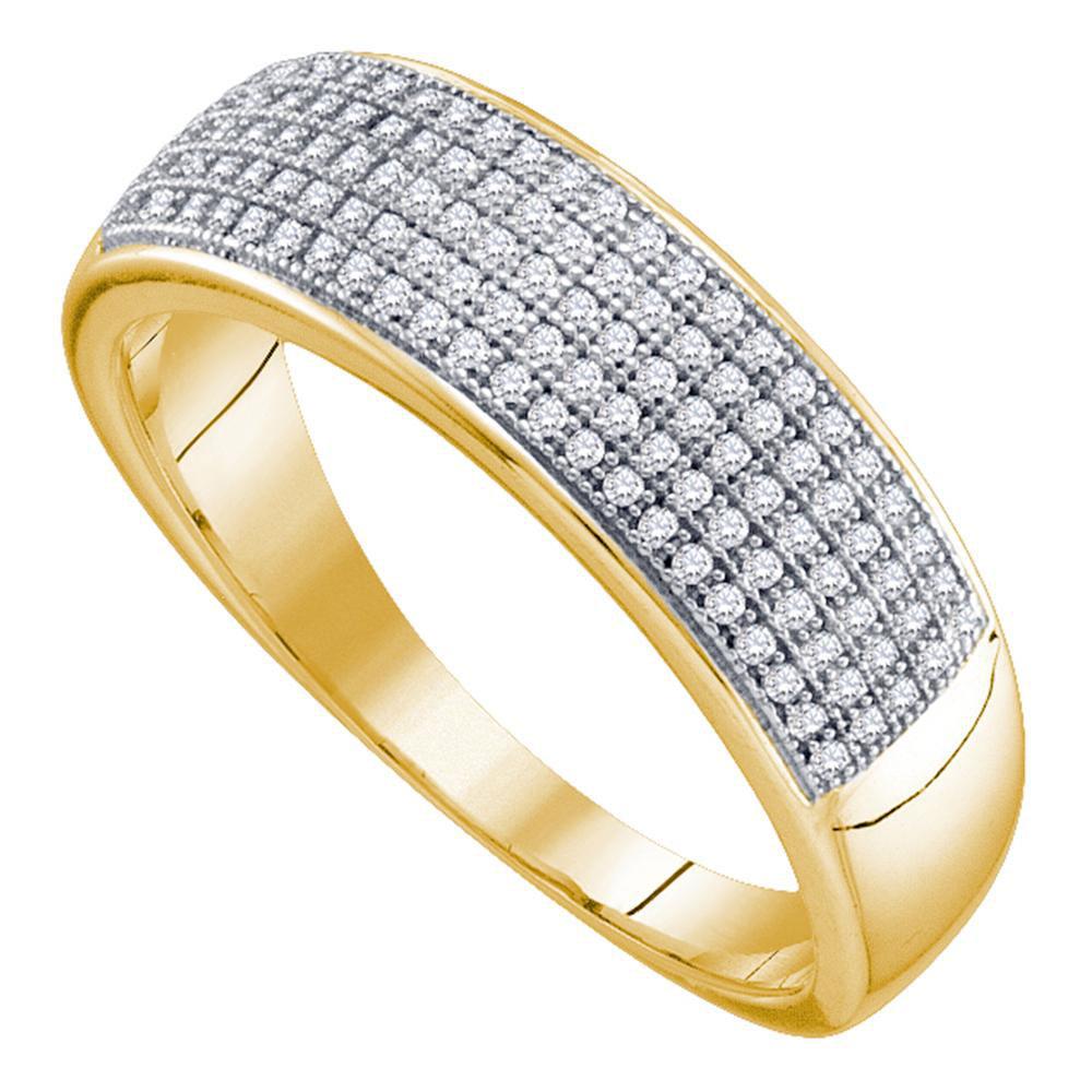 0.33 CTW Mens Diamond Wedding Ring 10KT Yellow Gold - REF-30W2K