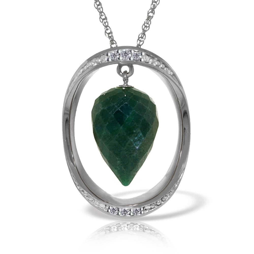 Genuine 13.1 ctw Sapphire & Diamond Necklace Jewelry 14KT White Gold - REF-122A8K