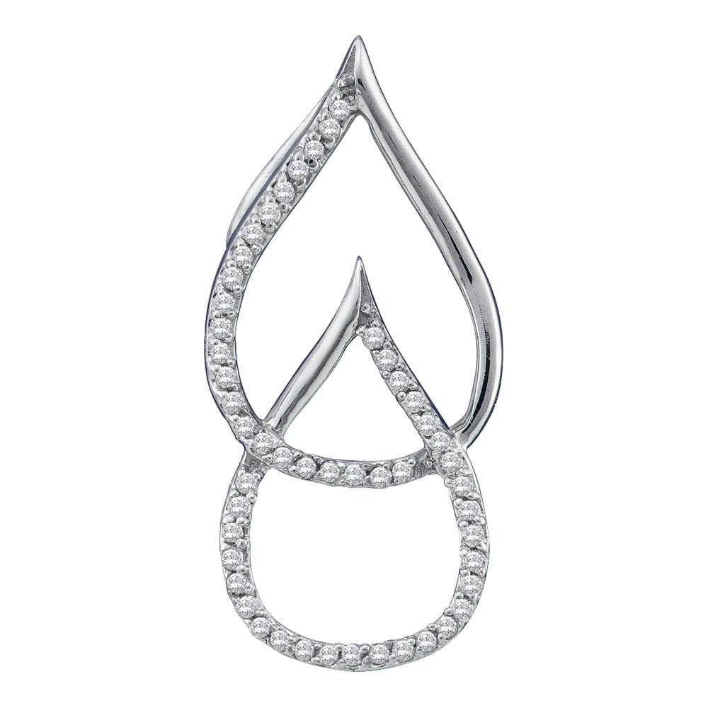 0.15 CTW Diamond Double Linked Teardrop Pendant 10KT White Gold - REF-12X2Y