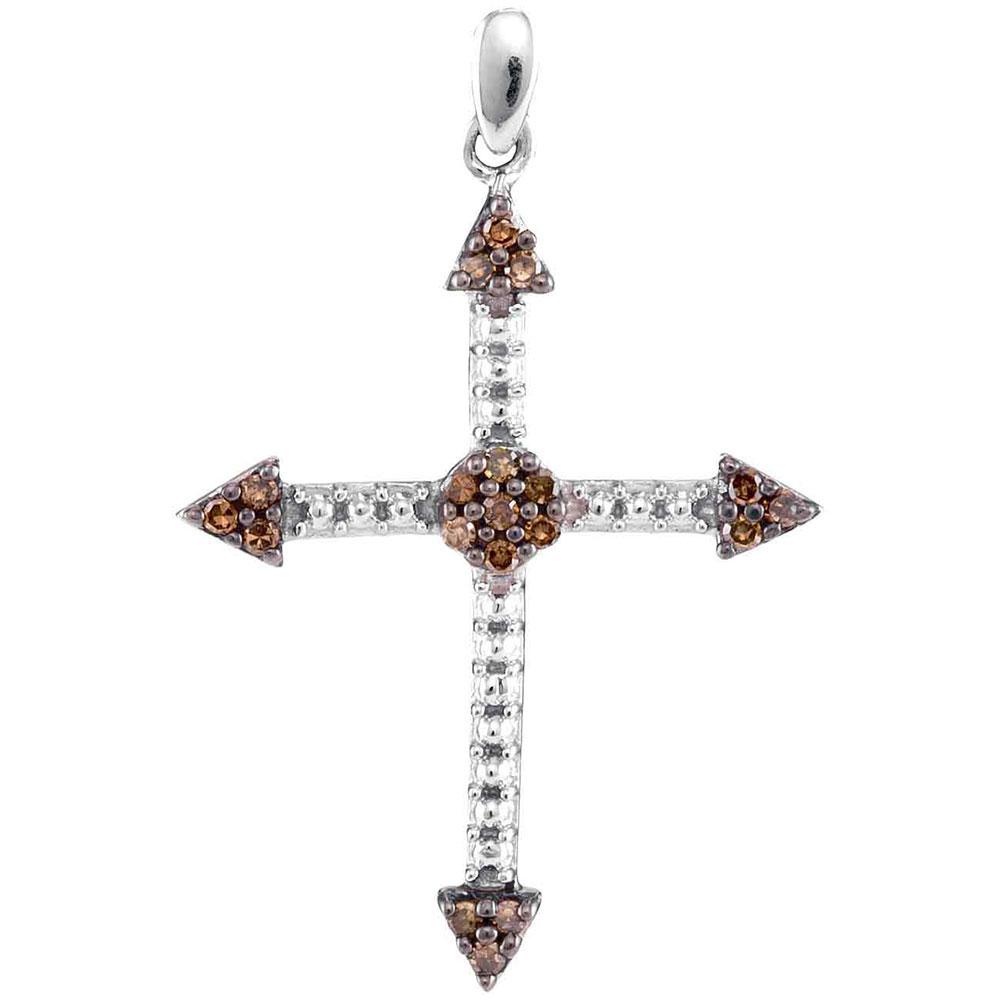 0.15 CTW Cognac-brown Color Diamond Cross Beaded Pendant 10KT White Gold - REF-12Y2X