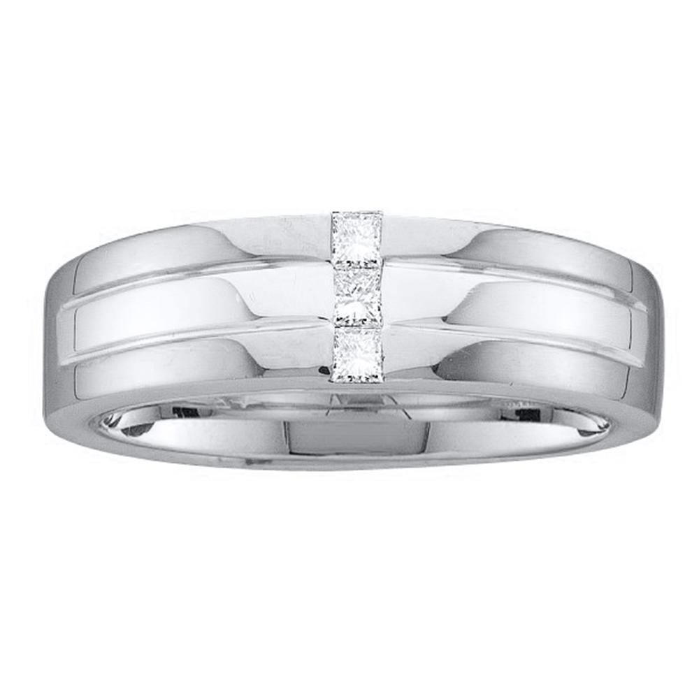 0.15 CTW Mens Princess Channel-set Diamond Single Row Ring 14KT White Gold - REF-67H4M
