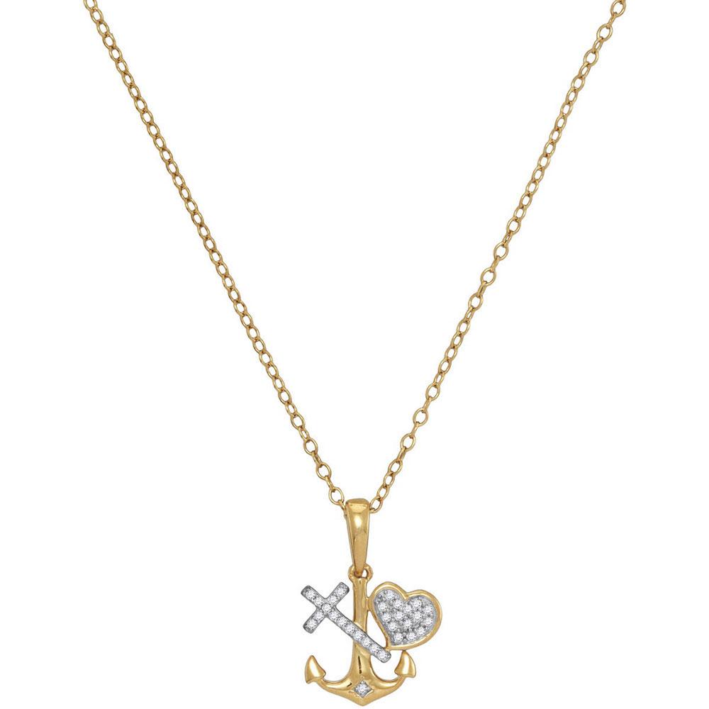 0.08 CTW Diamond Heart Cross Anchor Pendant 10KT Yellow Gold - REF-13M4H