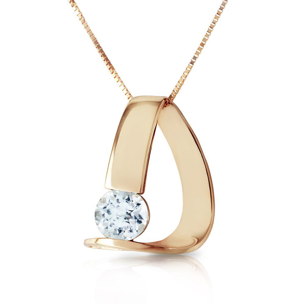 Genuine 1 ctw Aquamarine Necklace Jewelry 14KT Yellow Gold - REF-51P4H