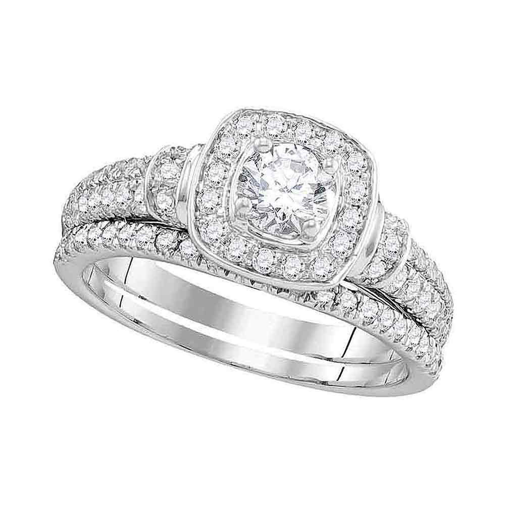 1 CTW Diamond Square Halo Bridal Engagement Ring 14KT White Gold - REF-157W5K