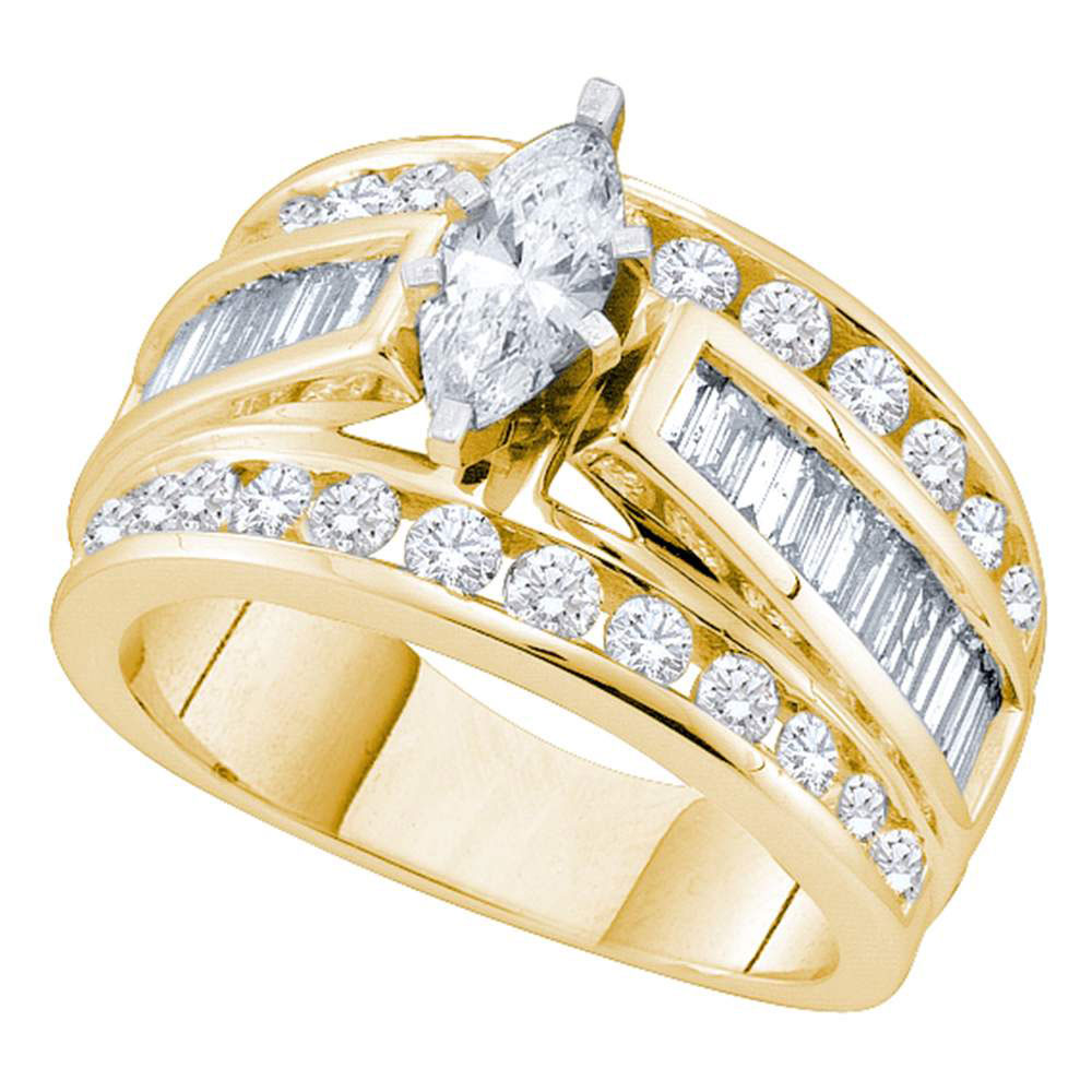 2 CTW Marquise Diamond Solitaire Bridal Engagement Ring 14KT Yellow Gold - REF-269N9F