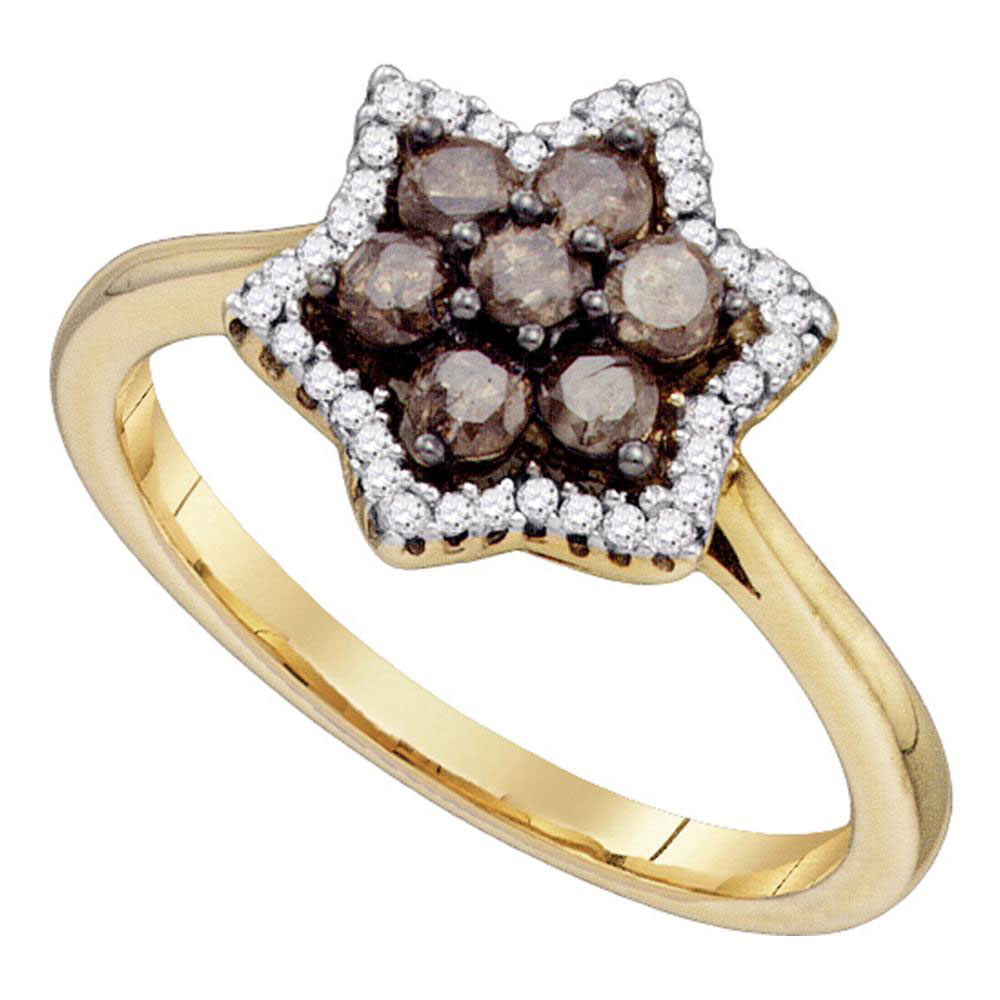 0.50 CTW Cognac-brown Color Diamond Cluster Ring 10KT Yellow Gold - REF-30M2H