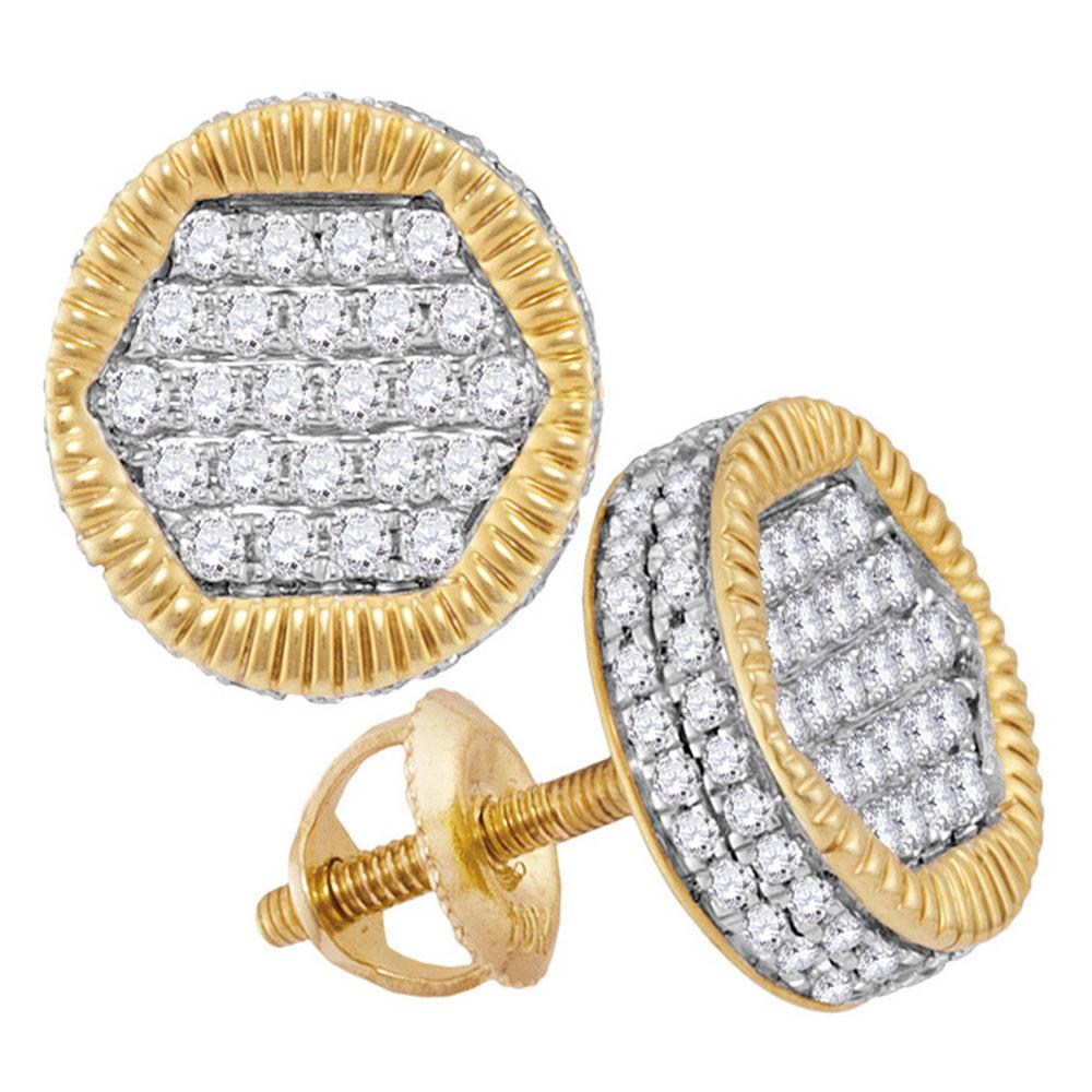 0.75 CTW Mens Diamond 3D Circle Cluster Stud Earrings 10KT Yellow Gold - REF-52N4F