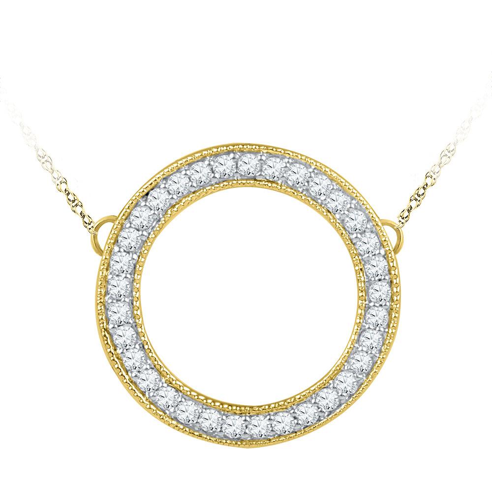 0.50 CTW Diamond Circle Pendant 10KT Yellow Gold - REF-52F4N