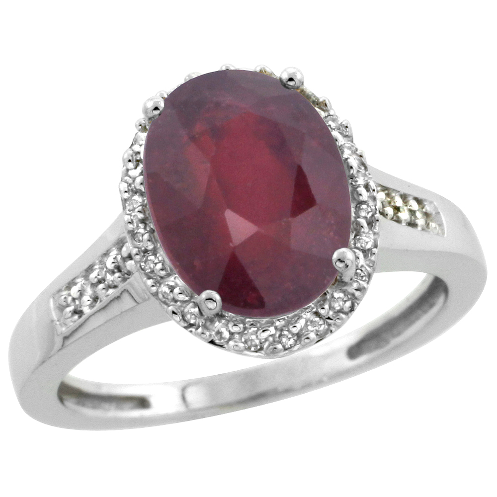 Natural 2.49 ctw Ruby & Diamond Engagement Ring 10K White Gold - REF-37R3Z