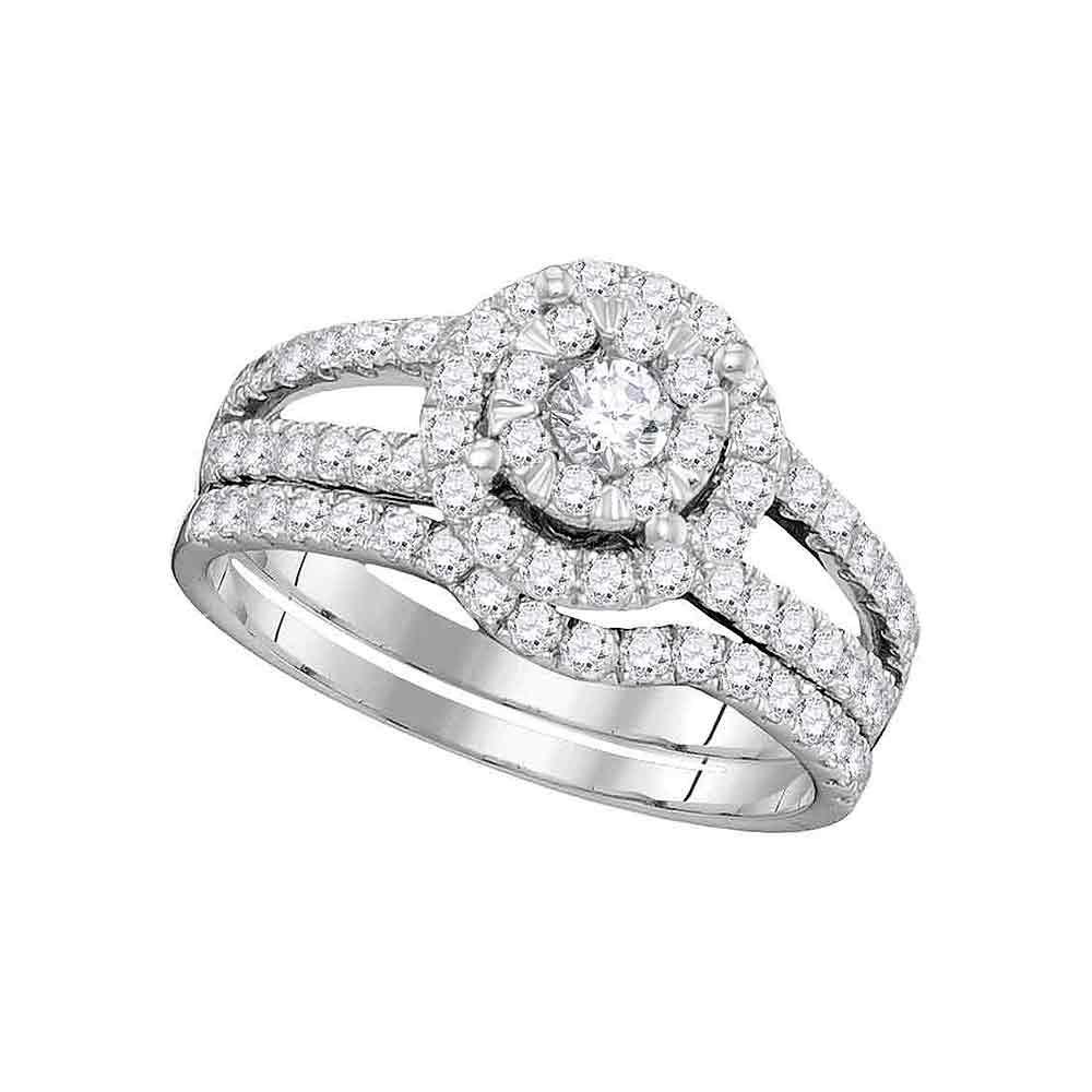 1 CTW Diamond Bridal Wedding Engagement Ring 14k White Gold - REF-112X5Y