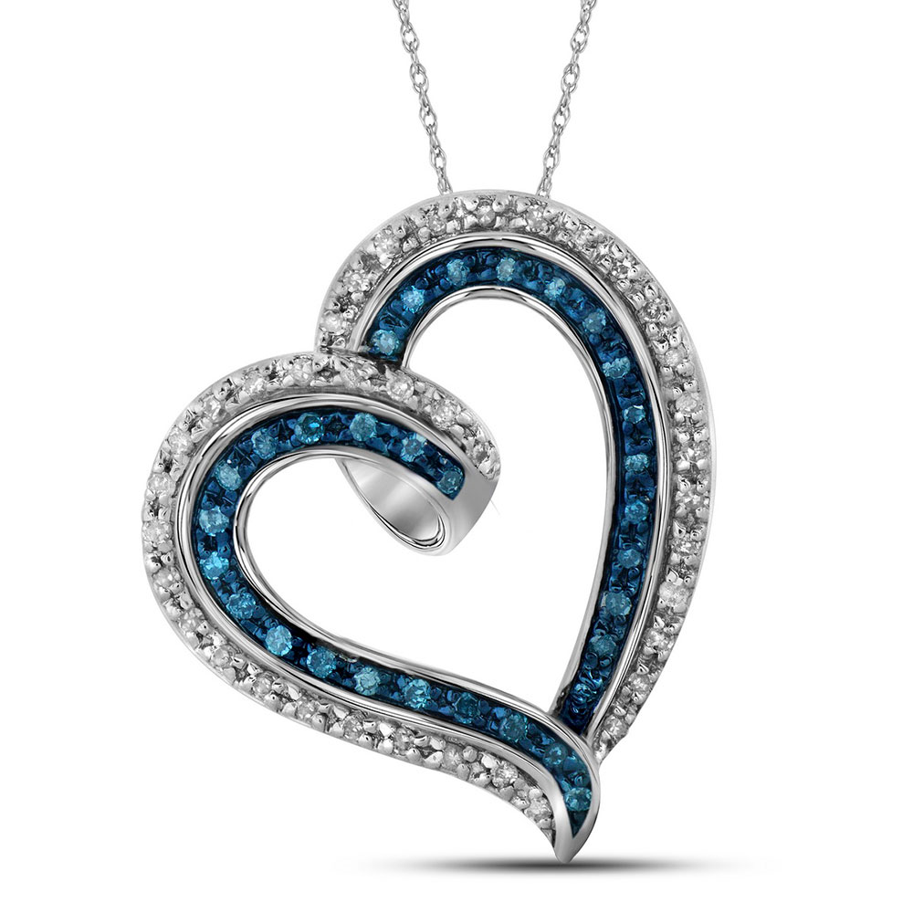 0.20 CTW Blue Color Diamond Outline Heart Pendant 10KT White Gold - REF-14H9M