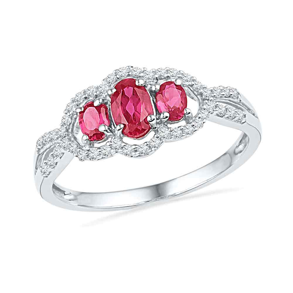 0.91 CTW Oval Created Ruby 3-stone Diamond Ring 10KT White Gold - REF-16X4Y