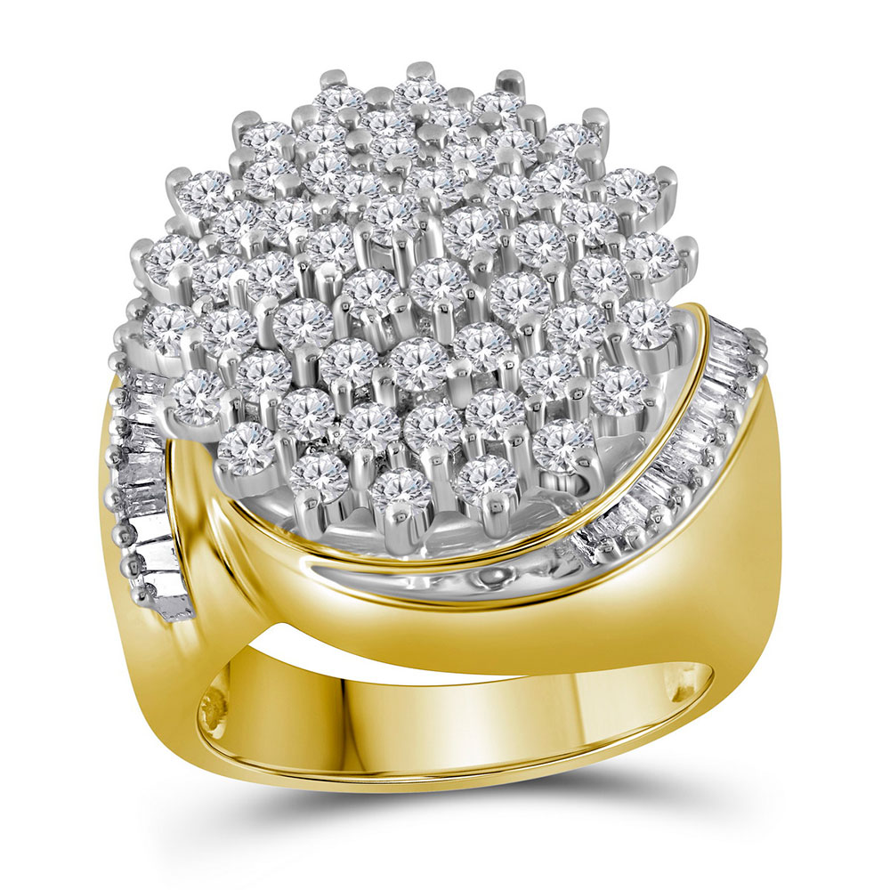 2.03 CTW Diamond Cluster Ring 10KT Two-tone Gold - REF-108Y8X