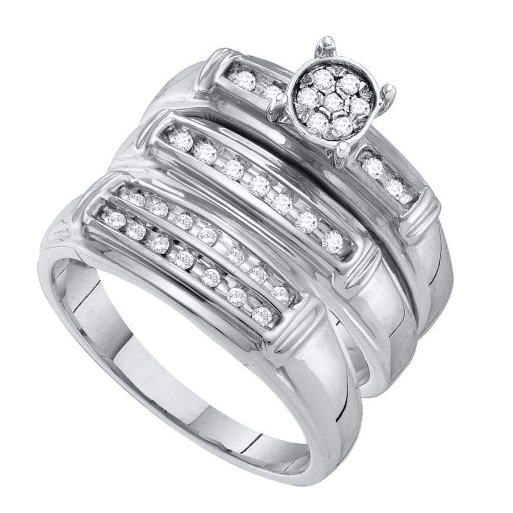 0.24 CTW His & Hers Diamond Cluster Matching Bridal Ring 10KT White Gold - REF-37Y5X