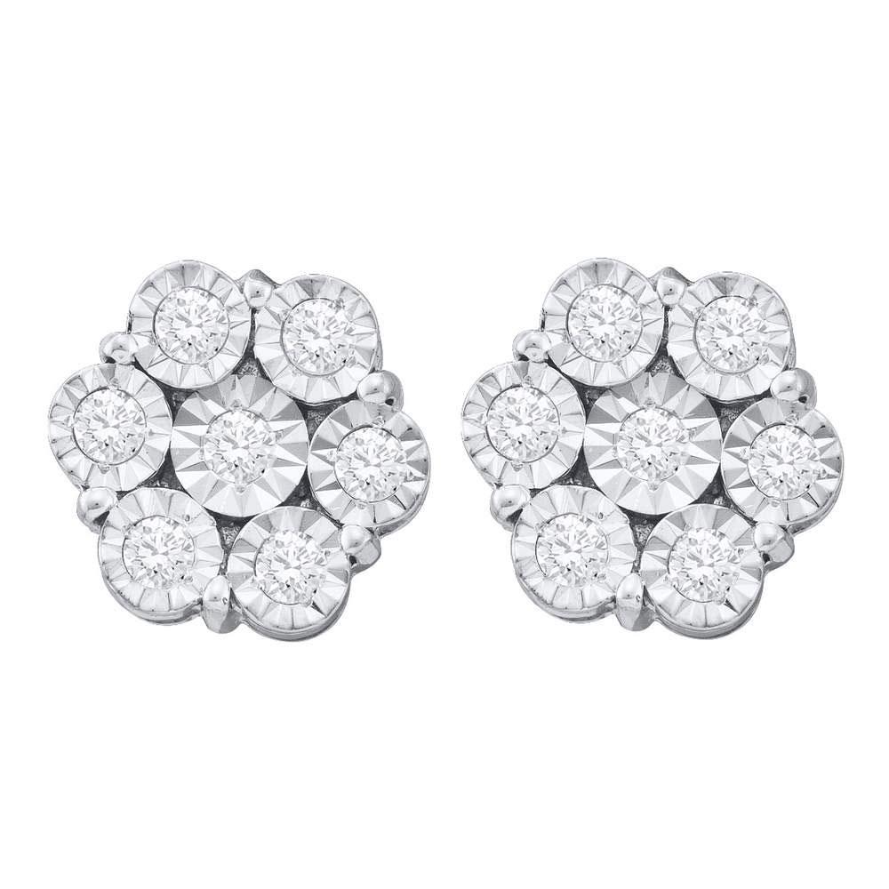 1 CTW Illusion-set Diamond Flower Cluster Earrings 10KT White Gold - REF-71X9Y