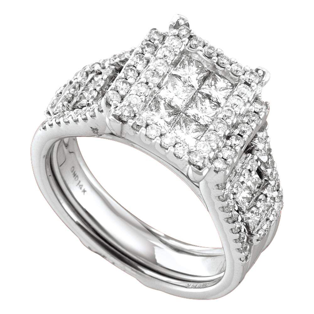 2 CTW Princess Diamond Bridal Engagement Ring 14KT White Gold - REF-254W9K