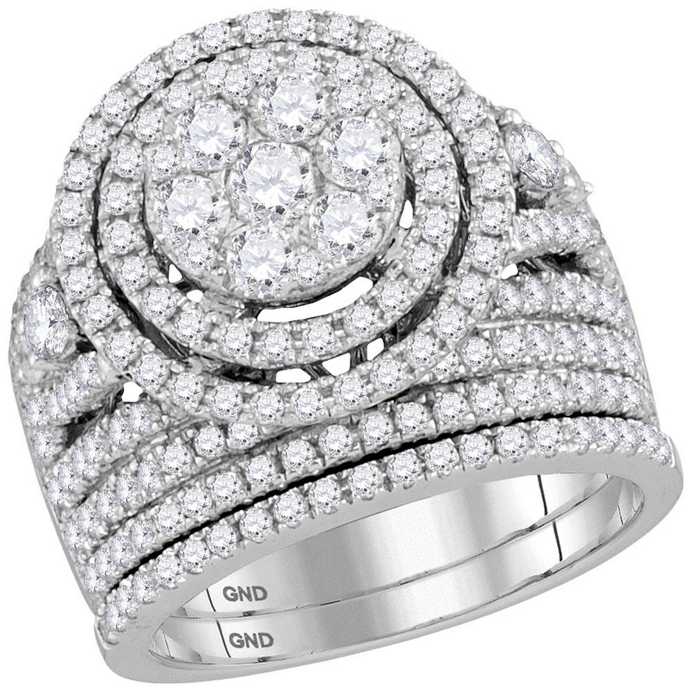 2.74 CTW Diamond Flower Cluster Halo Bridal Ring 14KT White Gold - REF-269H9M