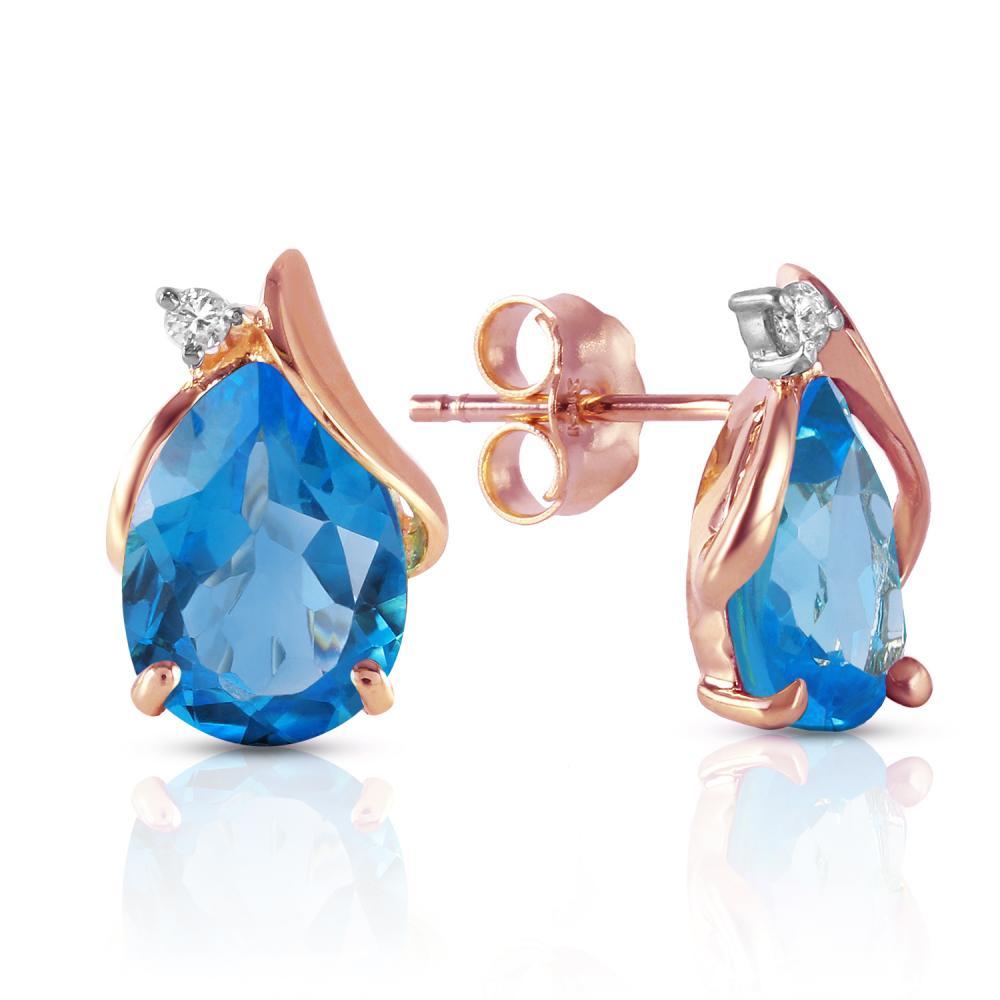 Genuine 5.06 ctw Blue Topaz & Diamond Earrings Jewelry 14KT Rose Gold - REF-46Z7N
