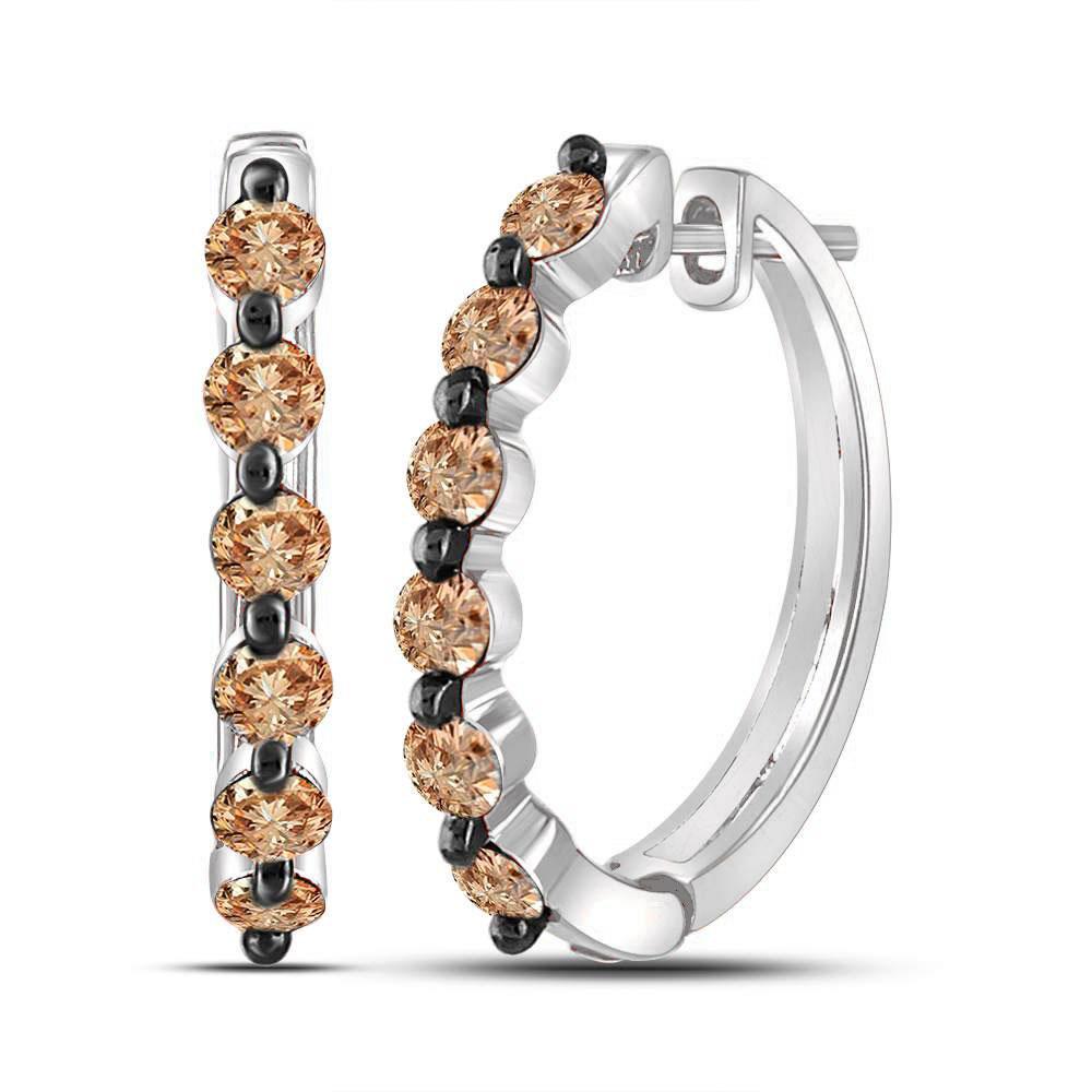 0.97 CTW Colored Brown Diamond Earrings 10KT White Gold - REF-51F3K