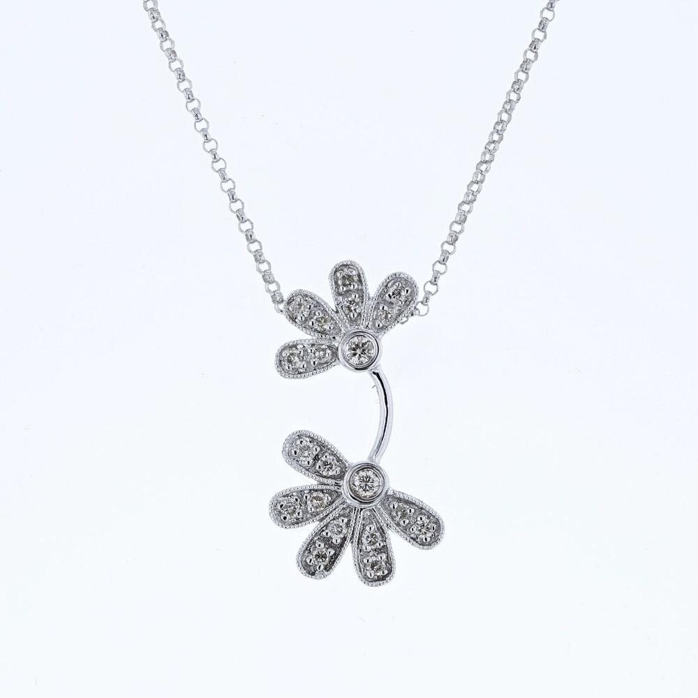 0.23 CTW Diamond Necklace 14K White Gold - REF-26H7M