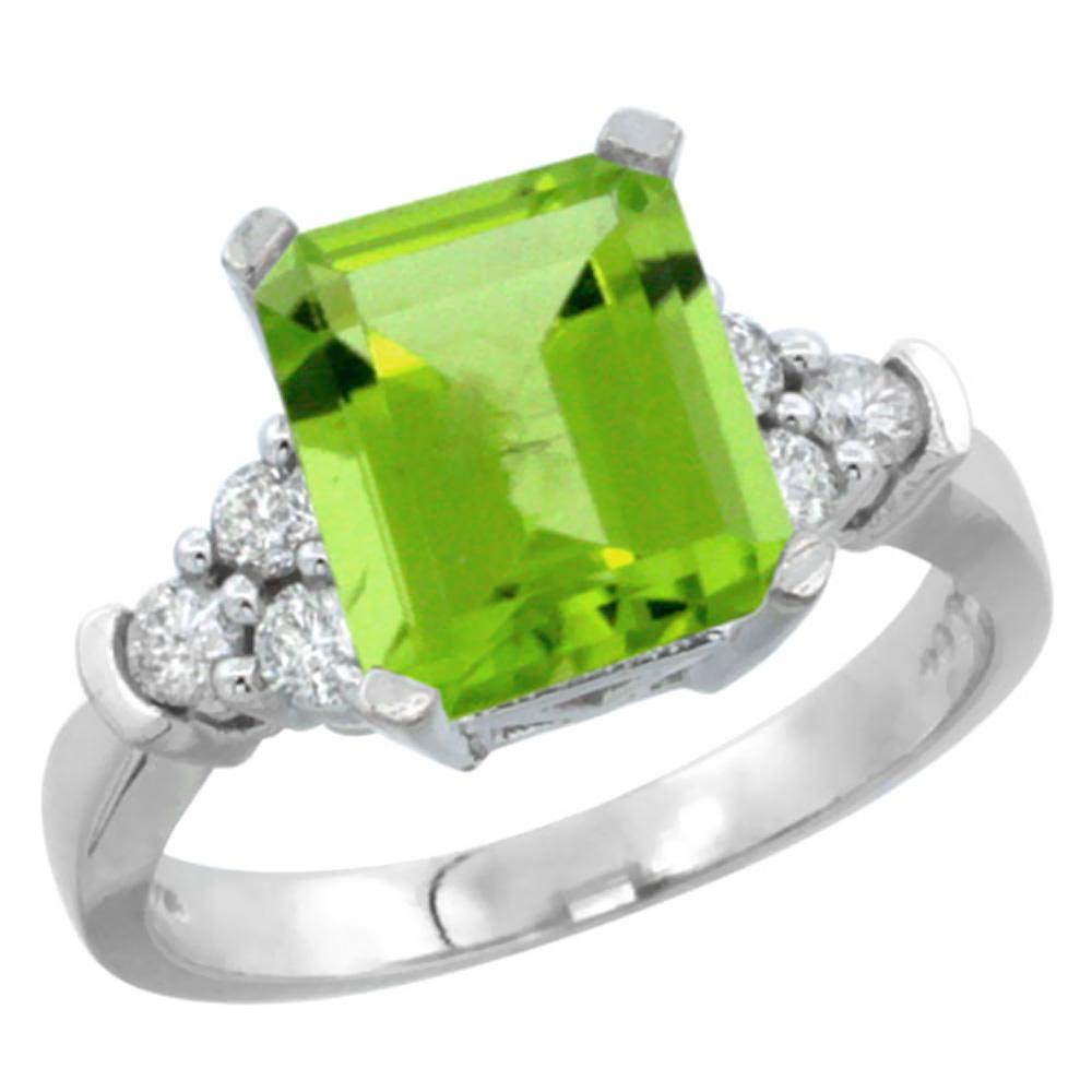 Natural 2.86 ctw peridot & Diamond Engagement Ring 10K White Gold - REF-53A2V