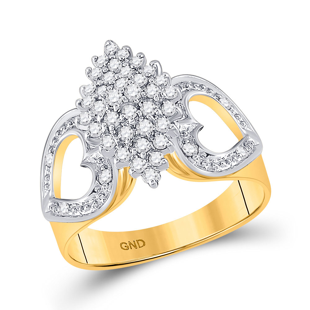 0.50 CTW Diamond Cluster Heart Ring 10KT Yellow Gold - REF-26W9K