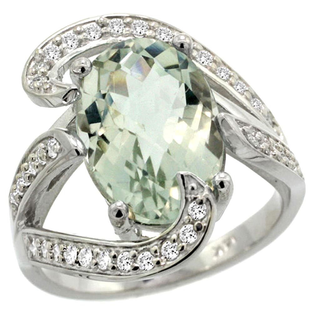 Natural 6.22 ctw green-amethyst & Diamond Engagement Ring 14K White Gold - REF-134G9M