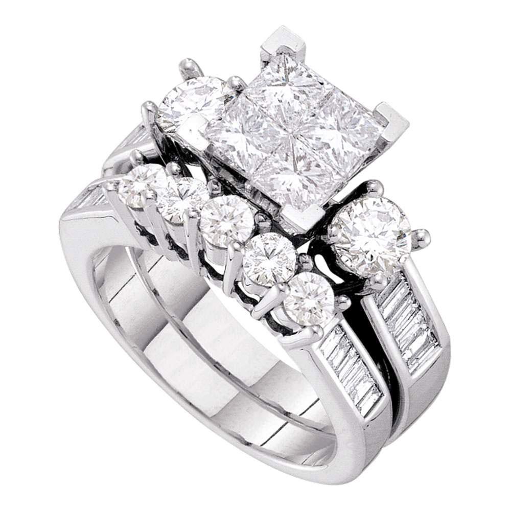 3 CTW Princess Diamond Bridal Engagement Ring 10KT White Gold - REF-449M9H