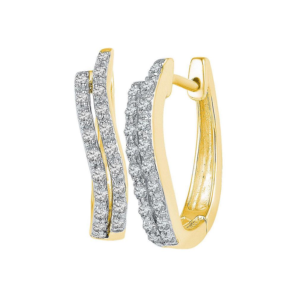 0.20 CTW Diamond Hoop Earrings 10KT Yellow Gold - REF-19H4M