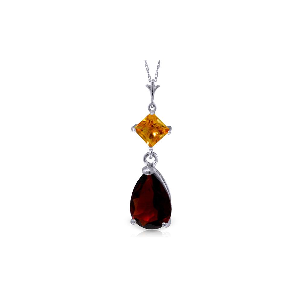 Genuine 2 ctw Garnet & Citrine Necklace Jewelry 14KT White Gold - REF-24R3P