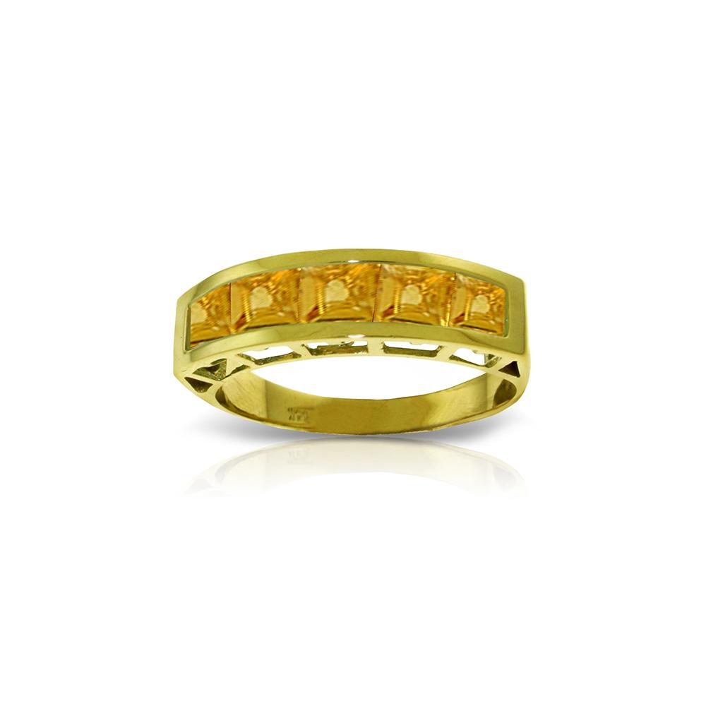 Genuine 2.25 ctw Citrine Ring Jewelry 14KT Yellow Gold - REF-54P2H