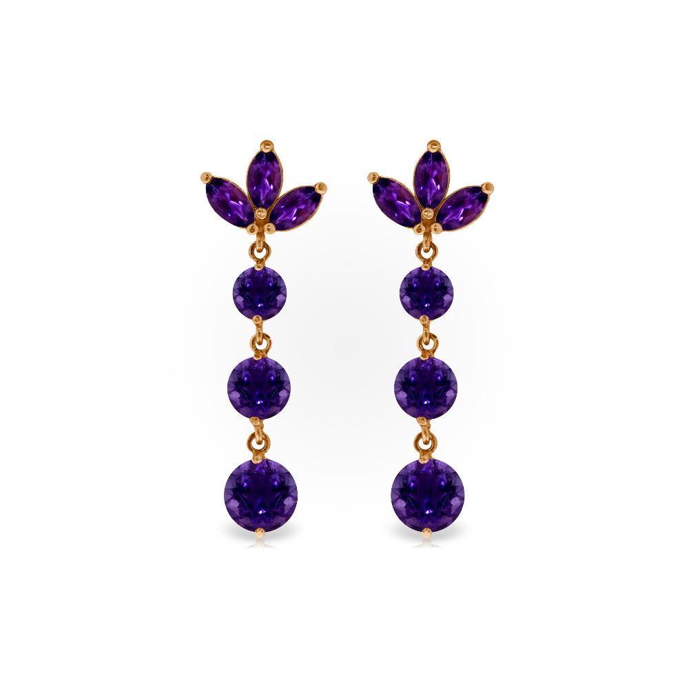 Genuine 8.7 ctw Amethyst Earrings Jewelry 14KT Rose Gold - REF-53Y6F