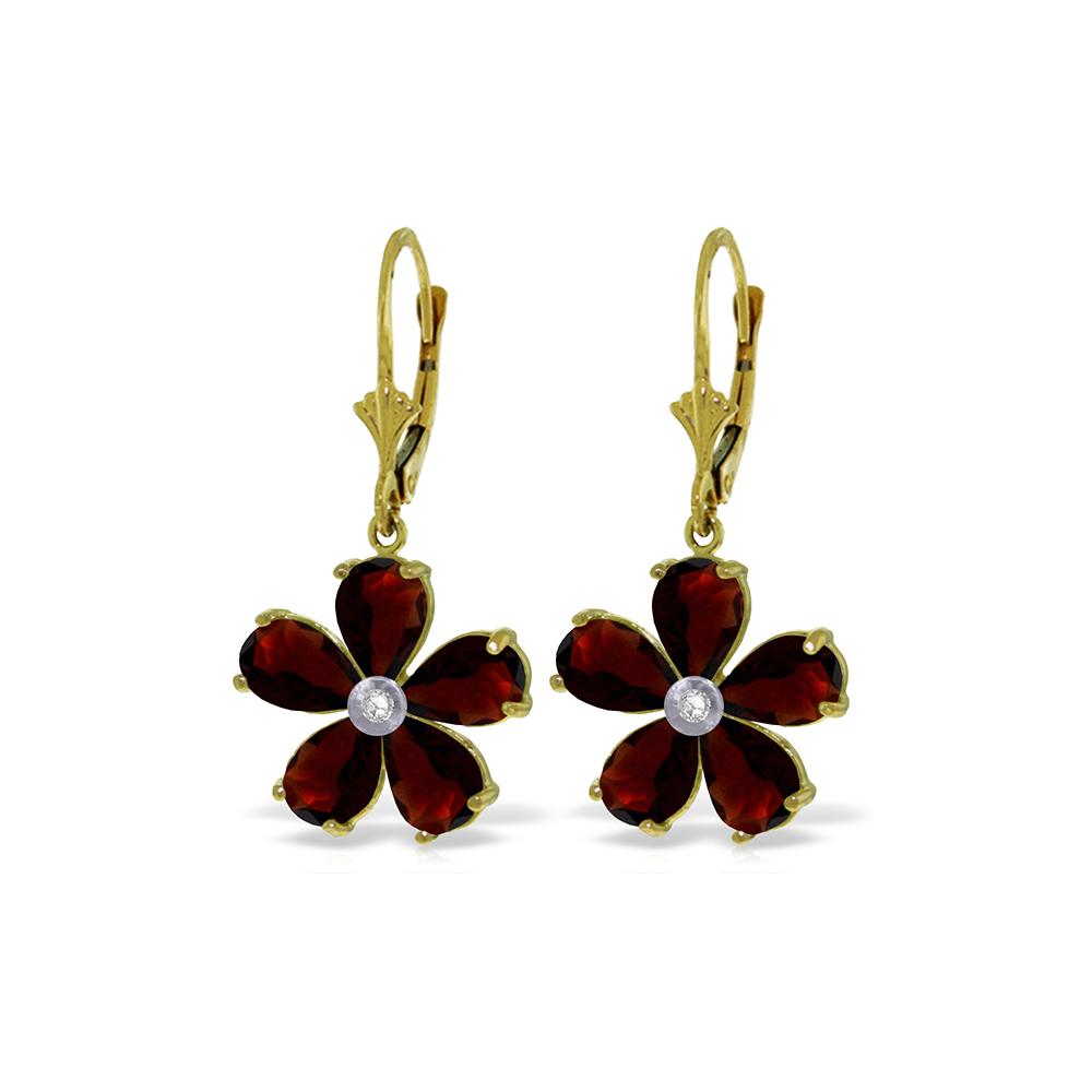 Genuine 4.43 ctw Garnet & Diamond Earrings Jewelry 14KT Yellow Gold - REF-49Y8F