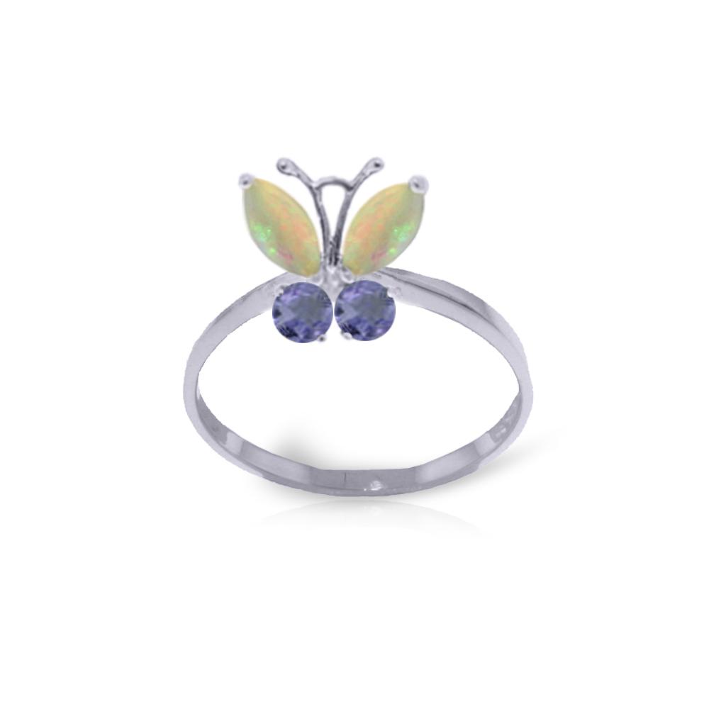 Genuine 0.70 ctw Opal & Tanzanite Ring Jewelry 14KT White Gold - REF-31V6W