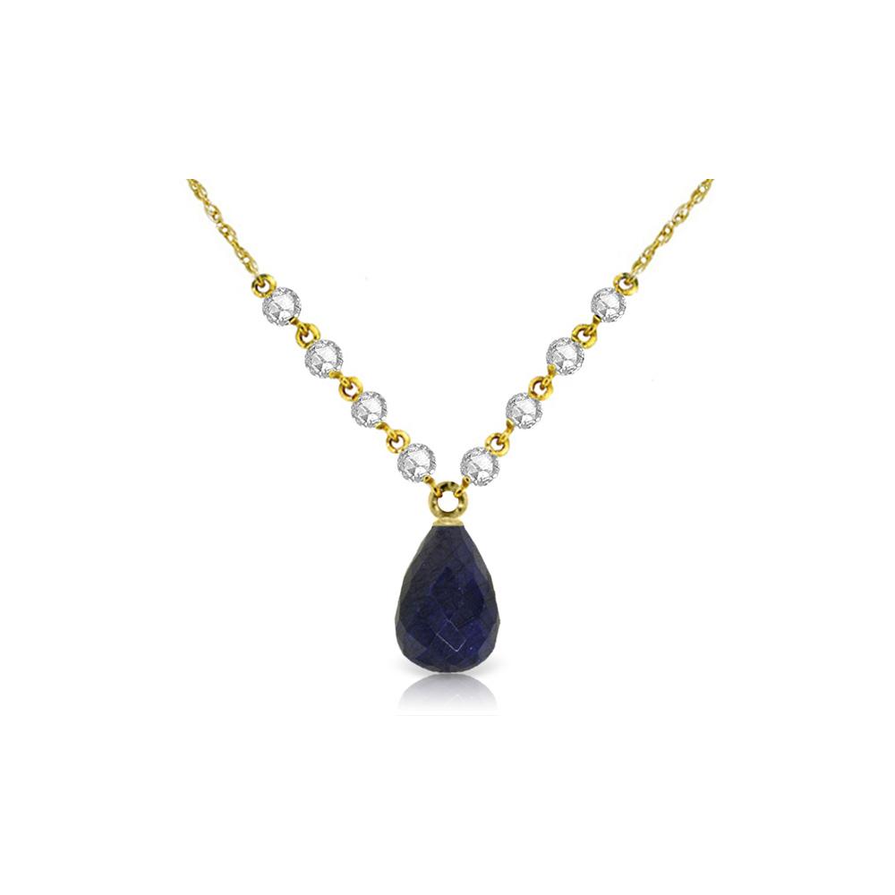 Genuine 15.6 ctw Sapphire & Diamond Necklace Jewelry 14KT Yellow Gold - REF-139K8V