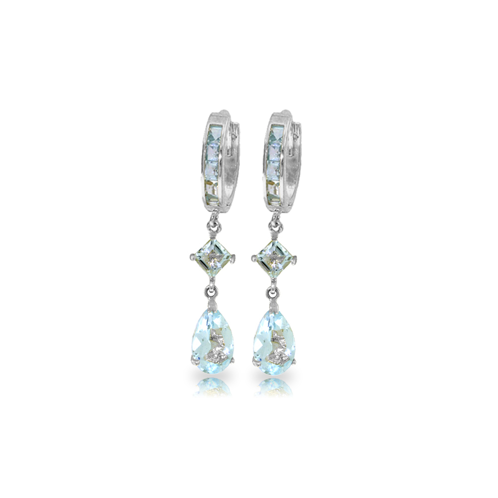 Genuine 5.62 ctw Aquamarine Earrings Jewelry 14KT White Gold - REF-76H2X