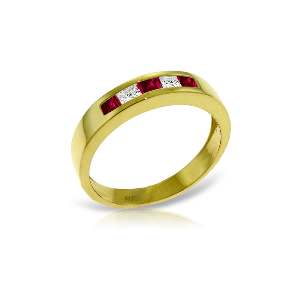 Genuine 0.63 ctw Ruby & White Topaz Ring Jewelry 14KT Yellow Gold - REF-49P2H