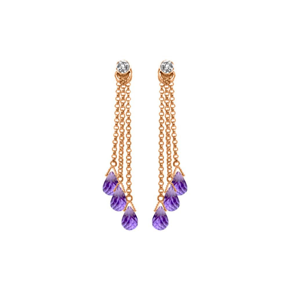 Genuine 10.53 ctw Amethyst & Diamond Earrings Jewelry 14KT Rose Gold - REF-32M9T