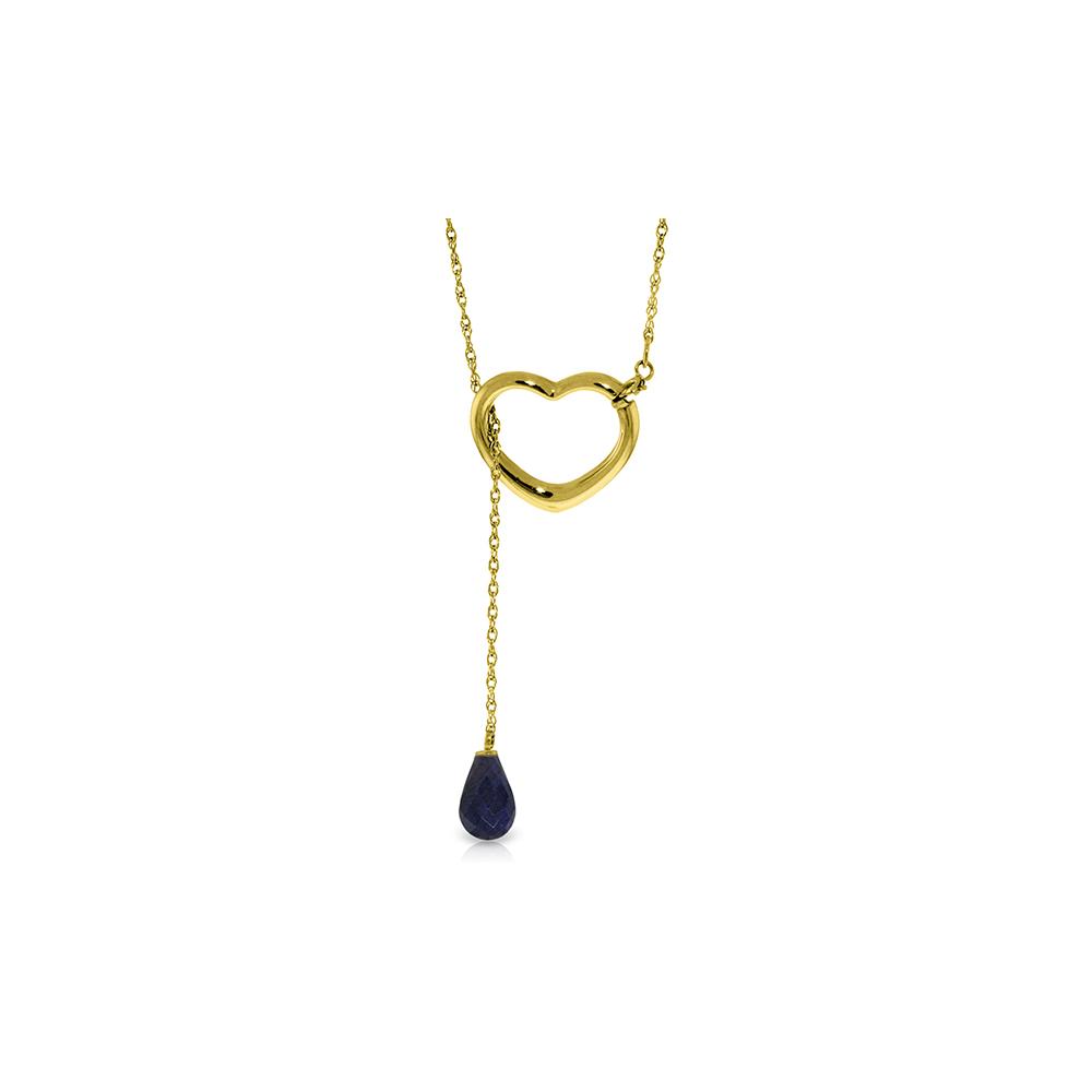 Genuine 3.3 ctw Sapphire Necklace Jewelry 14KT Yellow Gold - REF-37F4Z