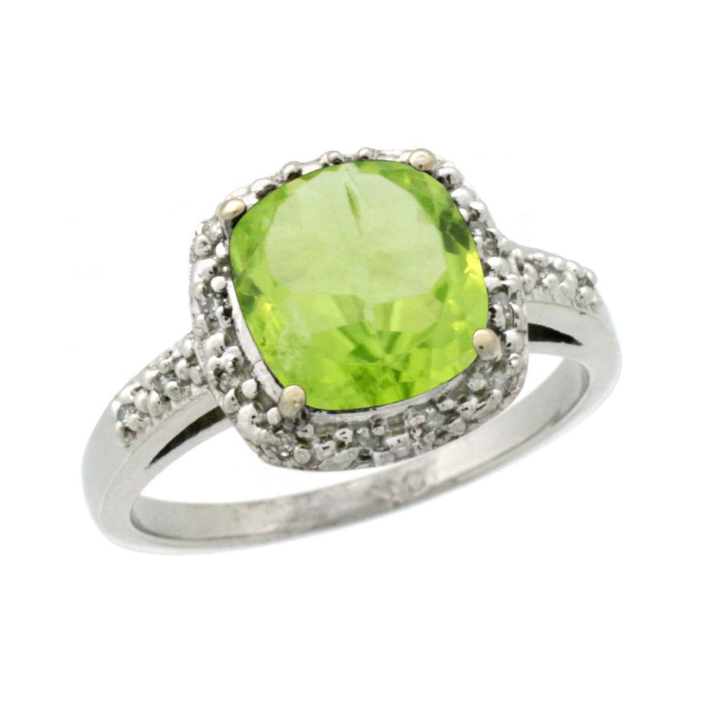 Natural 2.4 ctw Peridot & Diamond Engagement Ring 14K White Gold - REF-34V3F