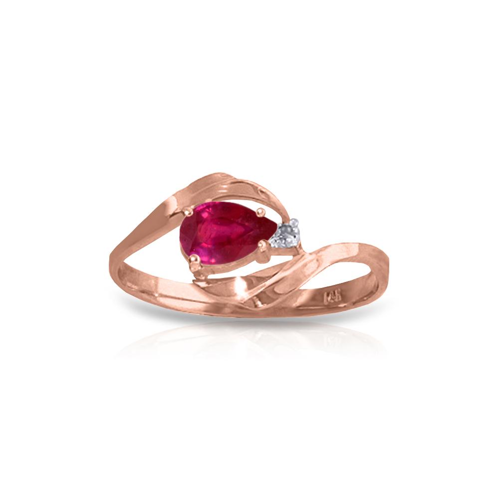 Genuine 0.51 ctw Ruby & Diamond Ring Jewelry 14KT Rose Gold - REF-28N3R