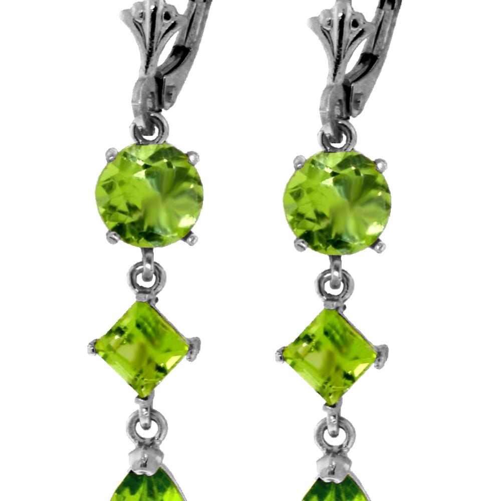 Genuine 6.3 ctw Peridot Earrings Jewelry 14KT White Gold - REF-52R2P