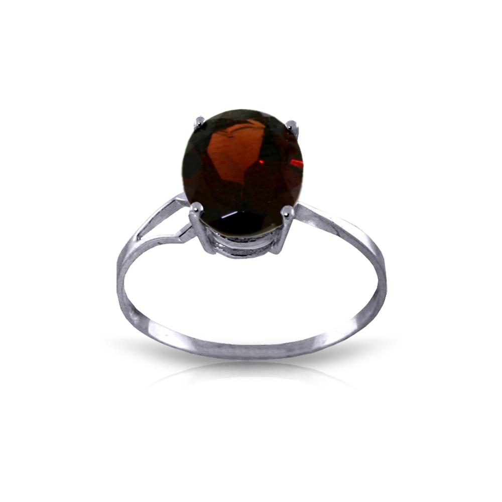 Genuine 2.2 ctw Garnet Ring Jewelry 14KT White Gold - REF-34W3Y
