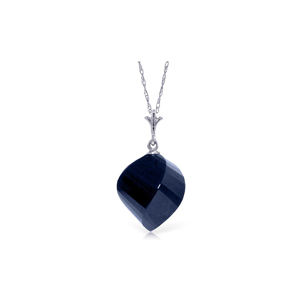 Genuine 15.25 ctw Sapphire Necklace Jewelry 14KT White Gold - REF-26K7V