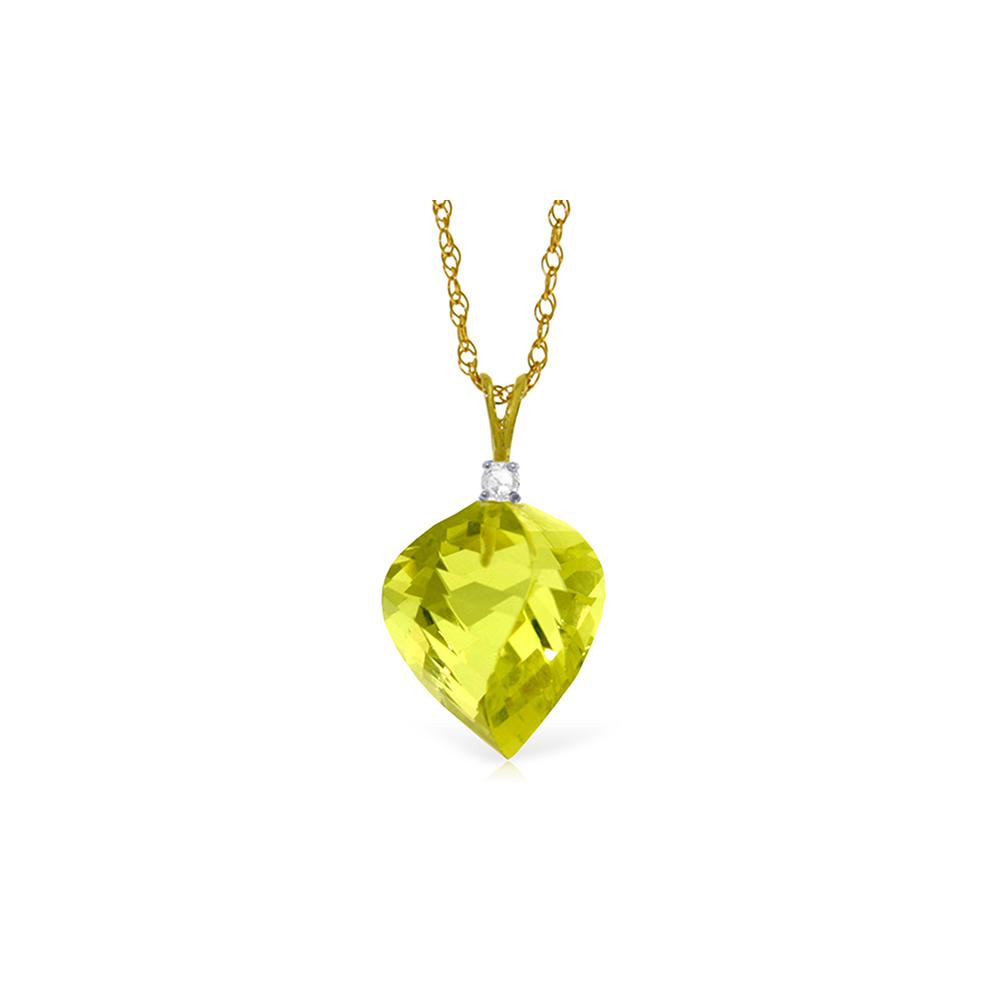 Genuine 10.80 ctw Lemon Quartz & Diamond Necklace Jewelry 14KT Yellow Gold - REF-27R5P
