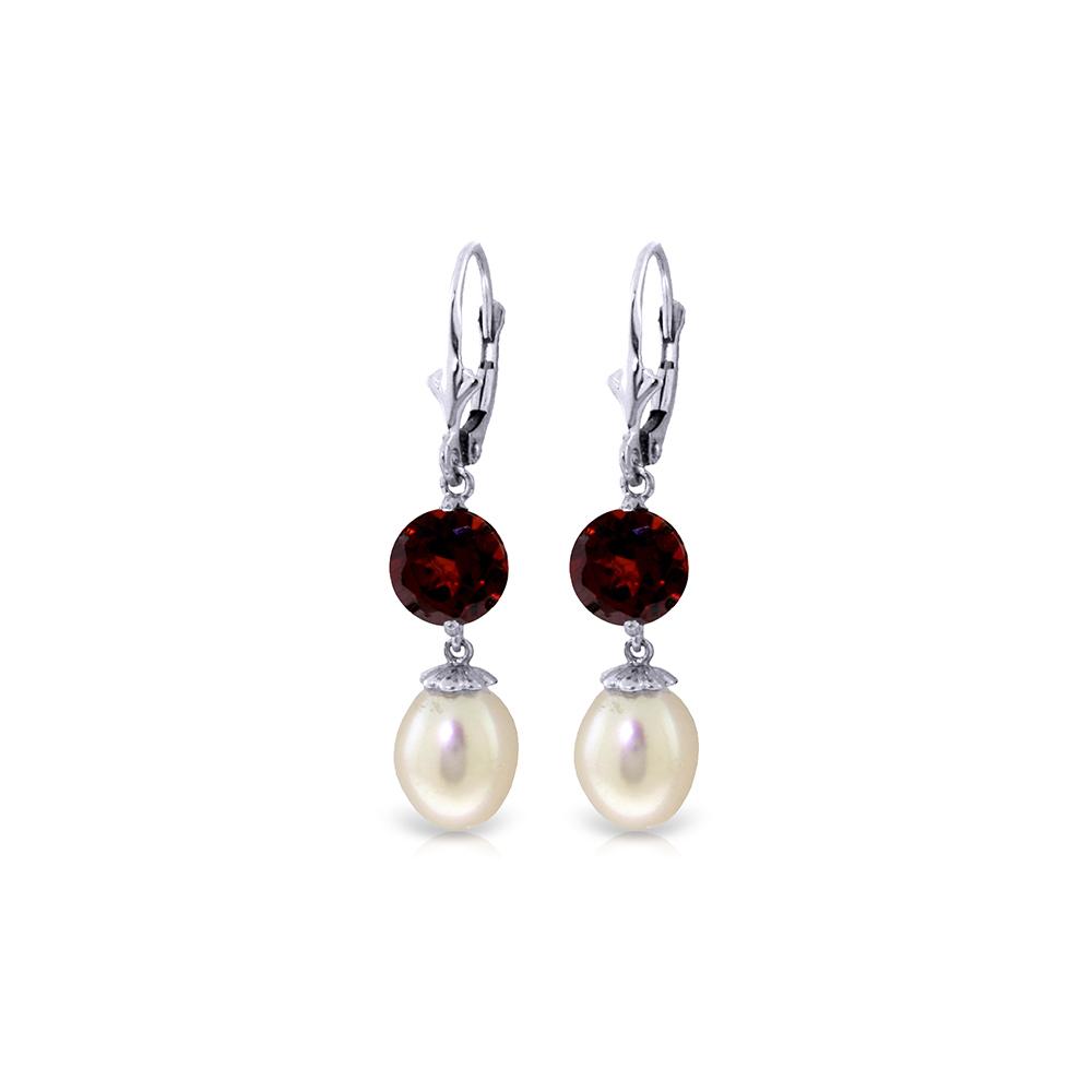 Genuine 11.10 ctw Pearl & Garnet Earrings Jewelry 14KT White Gold - REF-26T6A